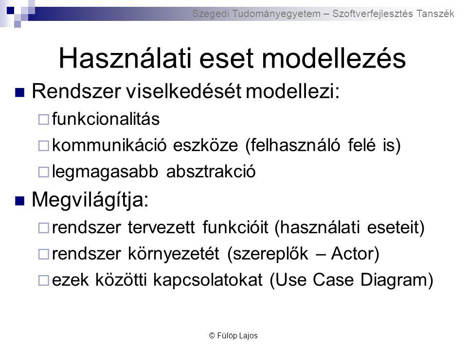 Szegedi Tudományegyetem – Szoftverfejlesztés Tanszék UML – Use Case Diagram kapcsolatok Asszociáció  Felhasználó és használati eset közötti kommunikáció, általában ige Általánosítás  Egyik használati eset vagy aktor általánosabb formája a másiknak Kiterjesztés  Egyik használati eset kiterjeszti újabb funkcionalitással a másikat  Extend kulcsszó Tartalmazás  Egyik használati eset tartalmazza a másikat  Include kulcsszó © Fülöp Lajos