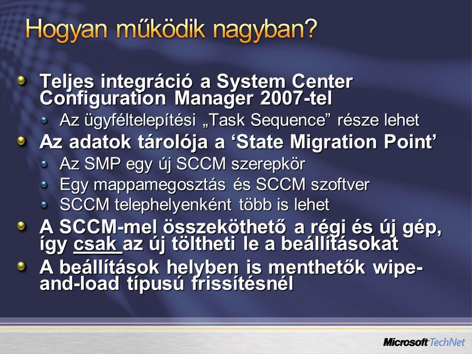  Admin: Kapcsolat létrehozása az új és régi gép között  Admin: A 'state save task sequence' feladat meghirdetése a régi gép számára Új gép Régi gép SMP & fájlmegosztás Telephely  A régi gép lefuttatja a feladatlistát, és kap egy titkosító kulcsot meg egy listát a használható SMP- kről.