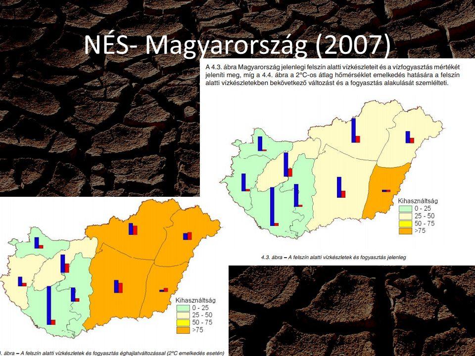 NÉS- céljai 2050-re EU: -60-90%os ÜHG csökkentés(1990) - Fejlett-fejletlen államok kooperálása - Határokat nem ismerő költséghatékony ÜHG csökkentő intézkedések>CO2 kvóta cserébe - Erős, kormányok által irányított villamos energia piac, mely egyik leglényegesebb szempontja a klímaváltozás Magyarország: - Ökológiailag fenntartható szint elérése (ÜHG) - Áramtermelés 30%-ára, Hőtermelés 5%-ára csökken - 40% passzívház, maradék épület energiaigénye -75% - Tömegközlekedés, biciklizés - Ipar dematerializálása - Bio és kertgazdálkodások nagyüzemi helyett