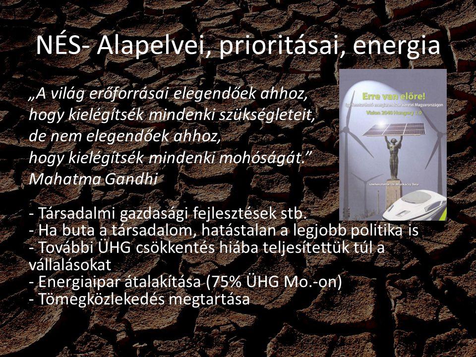 """NÉS- Alapelvei, prioritásai, energia Gazdasági növekedés elválasztása az energiafelhasználás növekedésétől """"Legzöldebb energia a fel nem használt Középút a fosszilis energia támogatásában - Károsnak véli, de szükségszerűnek - Egy részét évente beforgatná energiahatékonysági lakossági programokba - Óriási potenciál a háztartások korszerűsítése (4 millió házt."""