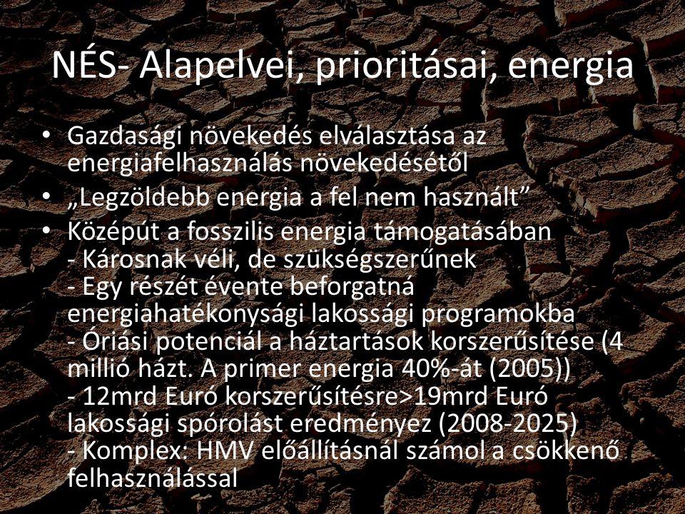 """NÉS- Alapelvei, prioritásai, energia Kritizálja a magyar zöldenergia vállalásokat Kritizálja a megújuló hőtámogatás hiányát A meglévő (2005) 5-6%-os megújuló döntően fák ~25%-os hatásfokú erőművekben Kifejezetten károsnak írták le a magyar megújuló energia helyzetét Megújuló potenciál: 150-2500PJ/év -2020-ra beépítve 150PJ-t tart reálisnak maximum - Kisebb mint az EU-s 20% vállalás - Ok: """"Magyarország megújuló energiapotenciálja összességében elmarad az átlagos EU tagállam megújuló potenciáljától"""