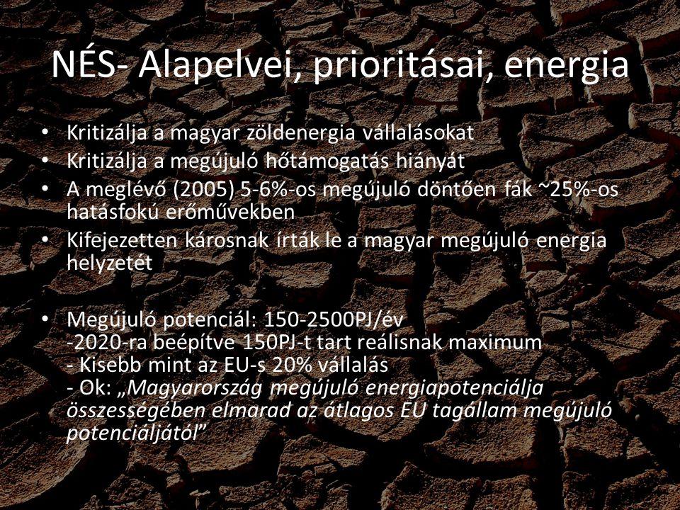 NÉS- Alapelvei, prioritásai, energia Szélenergia -2005-ben még megvertük: Svájcot, Csehországot,Szlovéniát, Szlovákiát, Litvániát, Romániát ~70MW beépített kapacitásunkkal - Elítéli az atomerőművet villamos rendszerirányítás szempontjából - Aláhúzza a szélerőművi menetrend átalakítását - Támogatni kell egy országok közti nagy kapacitású villamos vezeték rendszert CCS-nem releváns, zsákutca