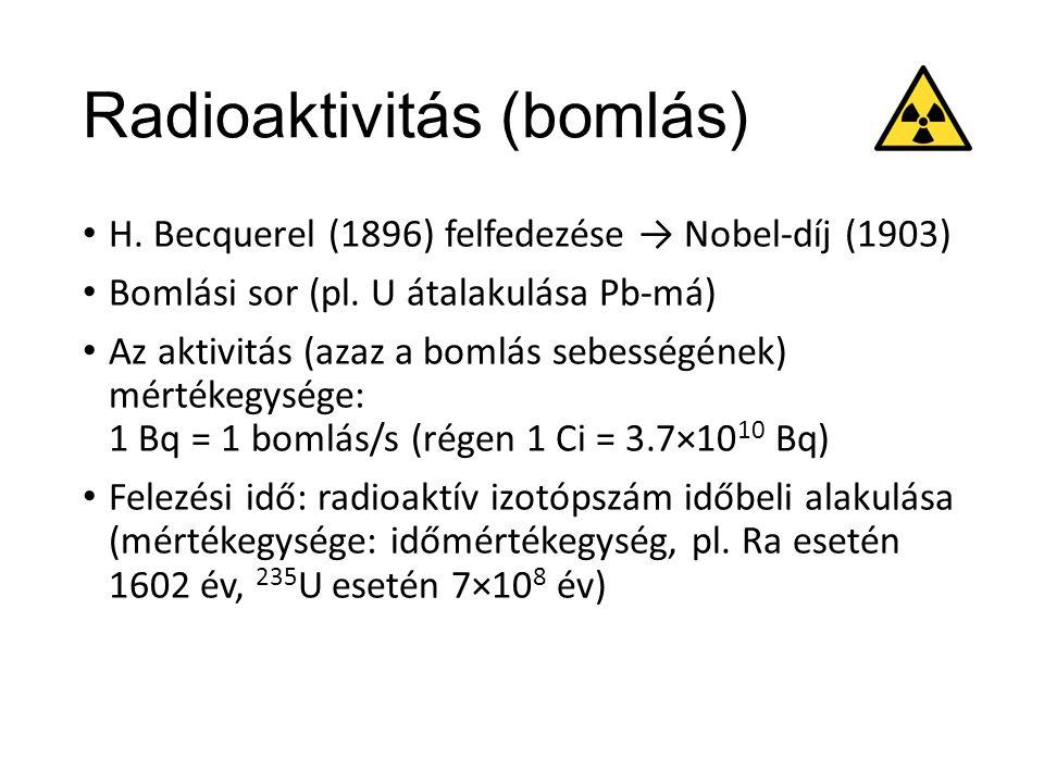 Radioaktivitás (sugárzás) Ionizáló sugárzás: elegendő energiájú sugárzás atomok ionizációjához (azokból elektronok eltávolításához) Fajtái: Alfa: He (2 proton + 2 neutron) távozása Gyorsan gyengül (levegőben pár cm), papírlap elnyeli Béta: elektron (pozitron) távozása Hatótáv pár tíz cm, alumíniumlap elnyeli Gamma: foton (nagyfrekvenciájú EM-hullám) távozása Sok anyagon áthatol, ólomlemez elnyeli