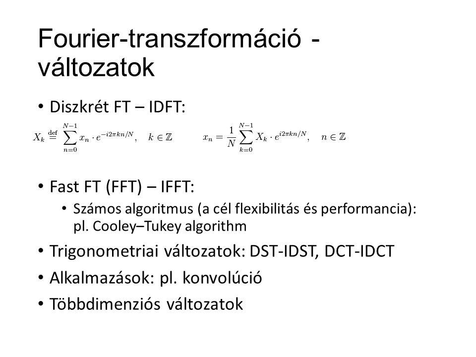 A DCT és alkalmazása Számítása: A kernelfüggvények 2D-ben: Joint Photographic Experts Group (JPEG v.