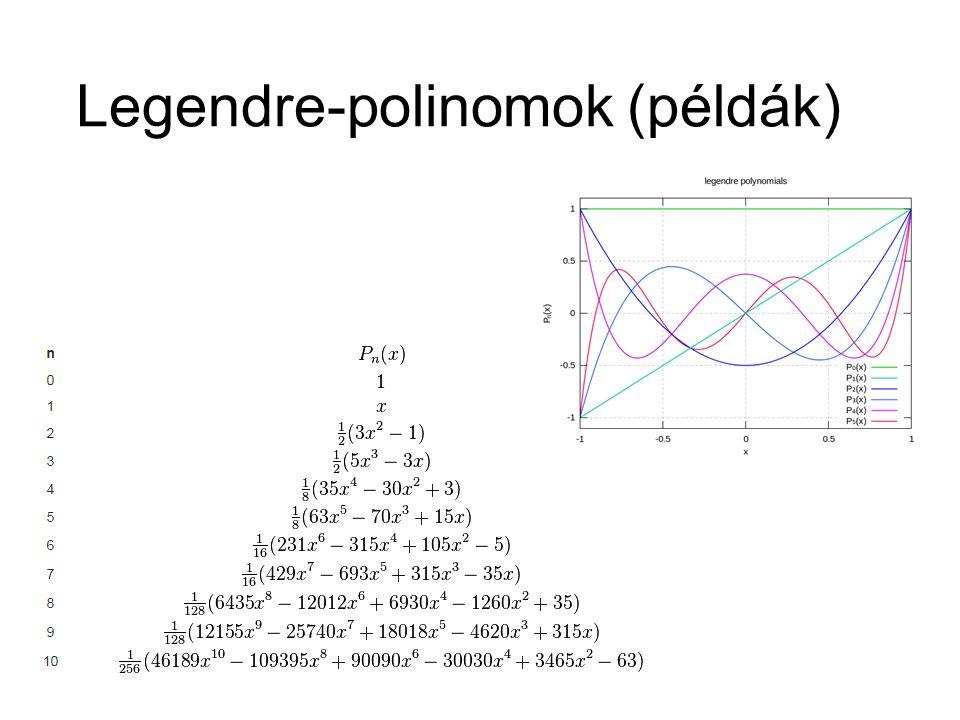 További harmonikusok Asszociált Legendre-polinomok (pl.)