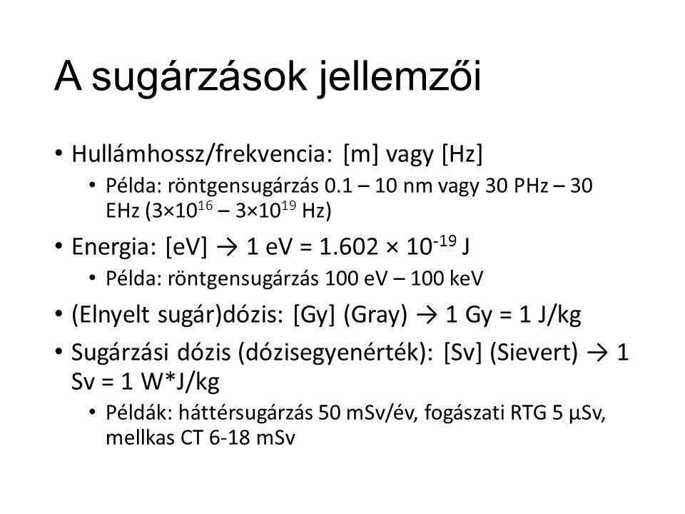 Atomok és változataik Atommag (protonok és neutronok) és elektronburok Tömegszám (nukleonok száma): protonszám (rendszám) + neutronszám Izotóp: adott elem különböző tömegszámú változatai Ismert elemnél: H, C, I, U… Stabil és instabil Radioaktivitás: instabil atomok bomlása (során keletkező sugárzás)