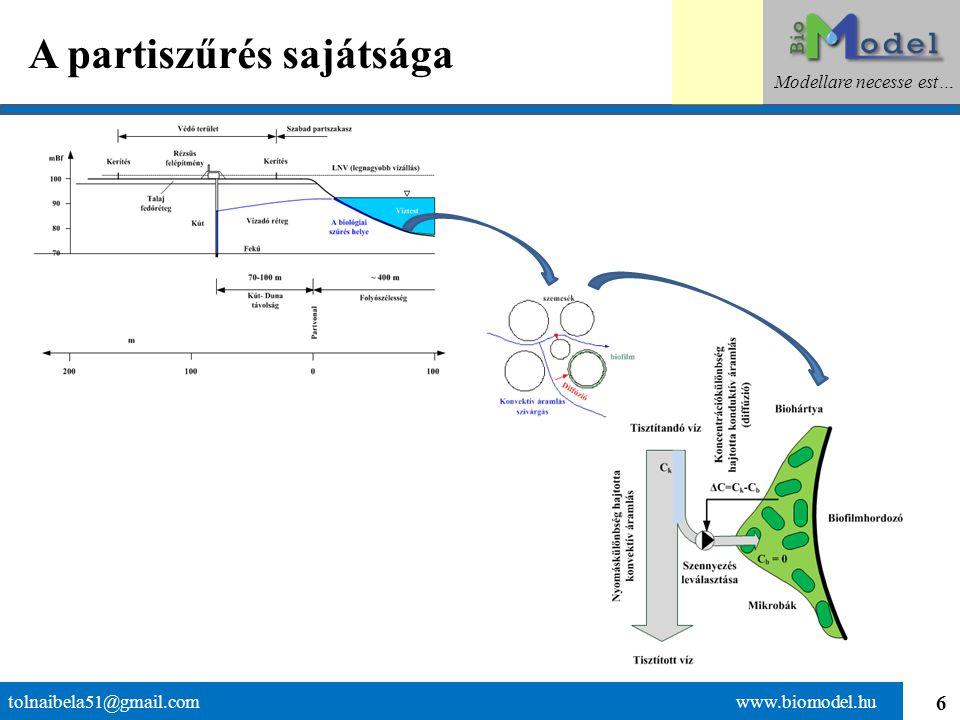 """7 A visszacsatolással bíró soros folyamat tolnaibela51@gmail.com www.biomodel.hu Modellare necesse est… A biológiai szűrő """"elégeti a szennyezést: Termékek: víz, szén-dioxid, salakanyag, biológiai növekedés"""