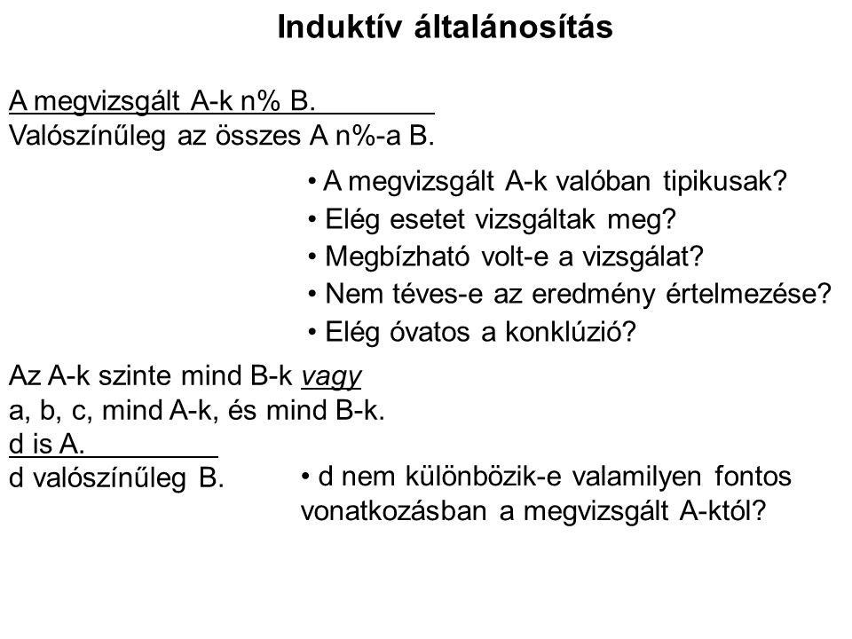 Analogikus érvek A két eset valóban hasonlít.Van-e okunk azt gondolni, hogy A releváns B-hez.