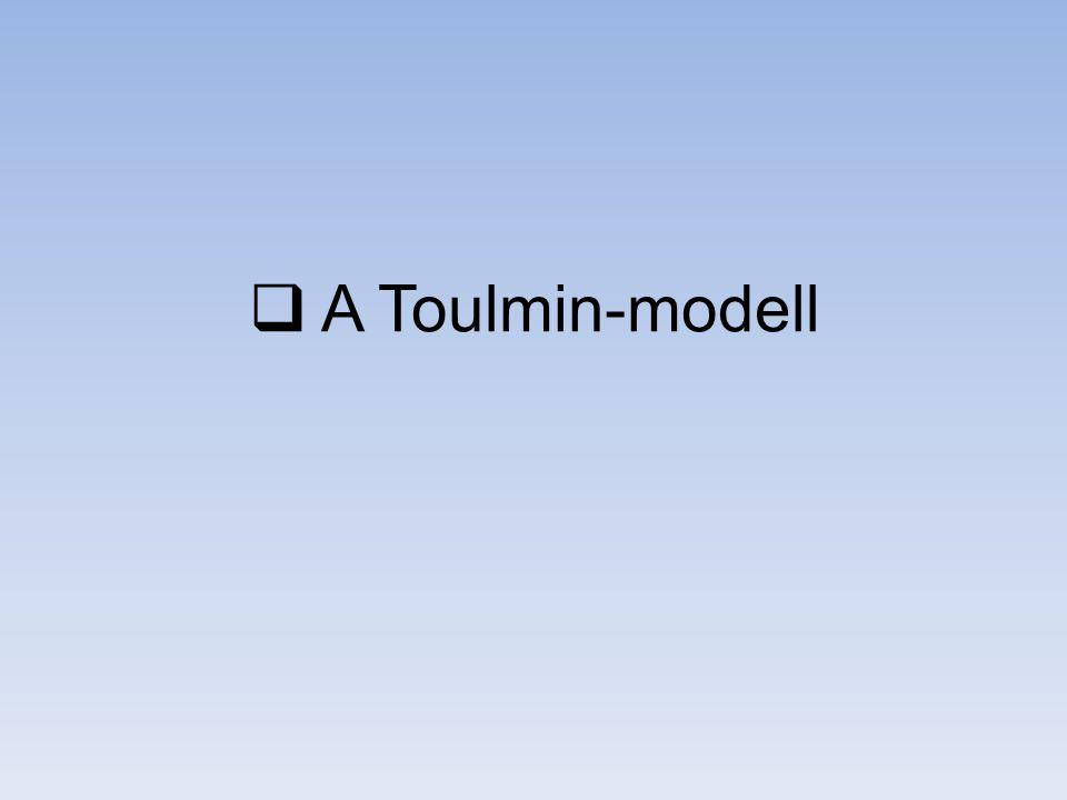 Toulmin összefoglaló Stephen Toulmin: The Uses of Argument (1958) a deduktív logika alkalmazhatatlan a hétköznapi érvelésekre az érvelés helyességének nem egyetemes, hanem mező-függő szabályai vannak ami az érvelés univerzális szabályai procedurálisak, nem strukturálisak Pro finom megkülönböztetések érvelés, mint tevékenység Con szűk alkalmazási kör nem teszi lehetővé az értékelést