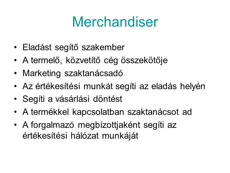 Feladatai: Eladáshelyek látogatása Eladáshelyi személyzet felvilágosítása Eladáshelyi vezetők tájékoztatása, vélemény felmérése Termékek eladótéri kihelyezésének ellenőrzése Fogyasztói kapcsolattartás (bolti bemutató, kóstoltatás, fogyasztói megkérdezés, felmérés lebonyolítása Visszacsatolás a megbízó termelő, illetve forgalmazó vállalat számára Javaslatétel a gyakorlati tapasztalatok alapján