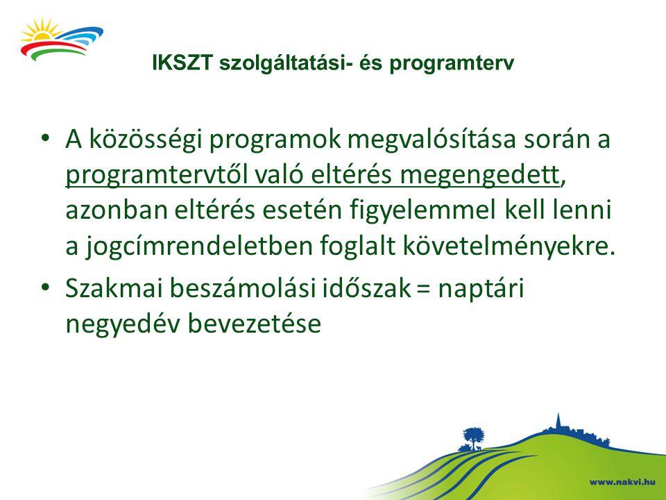 Szakmai beszámoló Az üzemeltetési kötelezettség ideje alatt az IKSZT szolgáltatási- és programterv alapján megvalósított tevékenységéről a NAKVI részére a szakmai beszámolási időszakra vonatkozóan negyedévenként elkészített és elektronikus úton benyújtott beszámoló.