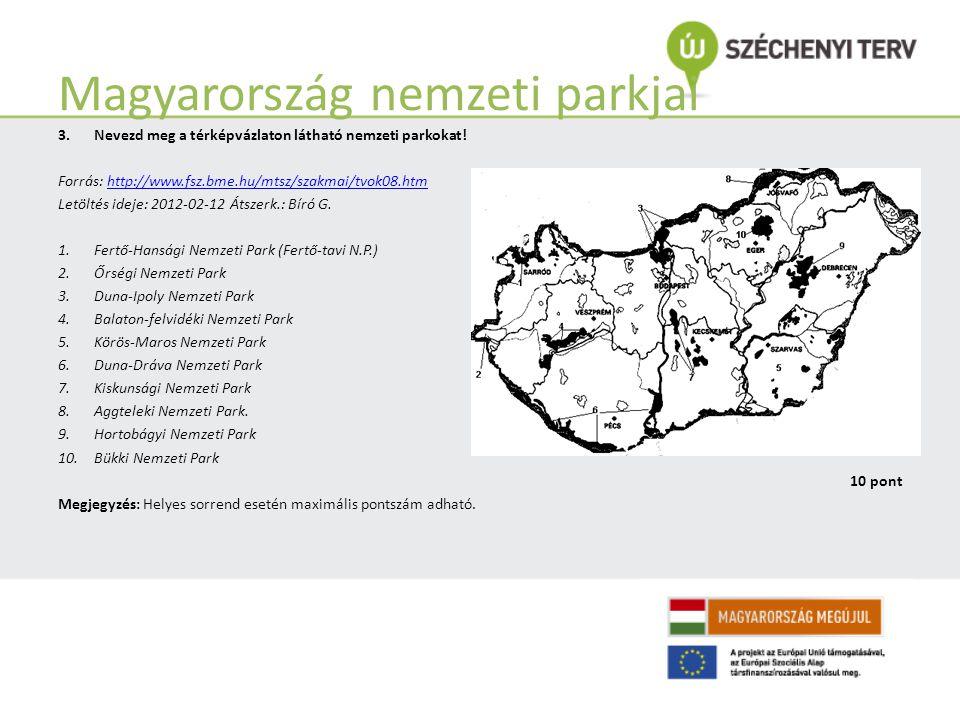 Magyarország nemzeti parkjai 3.Nevezd meg a térképvázlaton látható nemzeti parkokat.
