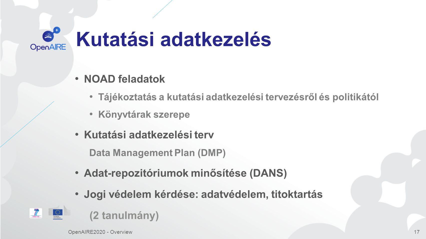 Zenodo Feltöltések, adatkezelési tervekhez való hozzáférés Software feltöltések és kapcsolatok Kiadókhoz való kapcsolódás CERN OpenAIRE2020 - Overview18