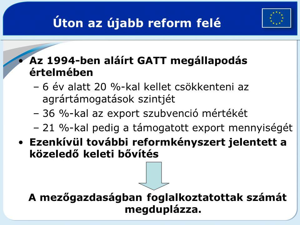 AGENDA 2000 AGENDA 2000 = 1997-ben elfogadott programcsomag –tartalmazza a KAP reformját –a 2000 és 2006 közötti közös költségvetés irányszámait –a keleti bővítéshez szükséges intézkedéseket