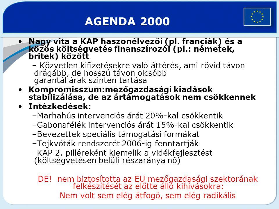 2003-as agrárreform Célkitűzések: támogatások és a termelés szétválasztása szabályozás egyszerűsítése vidékfejlesztés szerepének erősítése fenntartható mezőgazdasági termelés, a fogyasztók igényeinek fokozottabb érvényesítése (minőség, biztonság, környezetvédelem) A versenyképesség erősítése WTO követelmények kielégítése Vidékfejlesztés szerepének erősítése A KAP hosszú távú finanszírozási plafonjáról szóló 2002-es megállapodás betartása –2006-ig az Agenda 2000 keretszámai érvényesek – 2007-től éves szinten max.