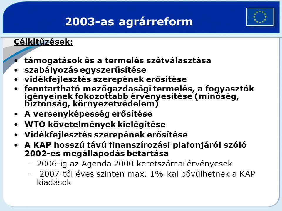 A reform legfontosabb pontjai 1.Összevont gazdaság-támogatási rendszer, (Single Payment Scheme – SPS) –A termelés és a támogatás részleges elválasztására épül (decoupling) = termelőt és nem terméket támogatják –Eddig különböző támogatási jogcímeken nyújtott közvetlen támogatásokat egy összegben fizetik ki gazdaságonként, melyet úgy számolnak ki, hogy a korábbi éveket (2000 és 2002) alapul véve számítanak egy átalányt –A kifizetések elválasztják a termeléstől –De tagállamoknak van mérlegelési lehetőségük, hogy milyen termékekre tartják fenn a termeléshez kötött támogatást