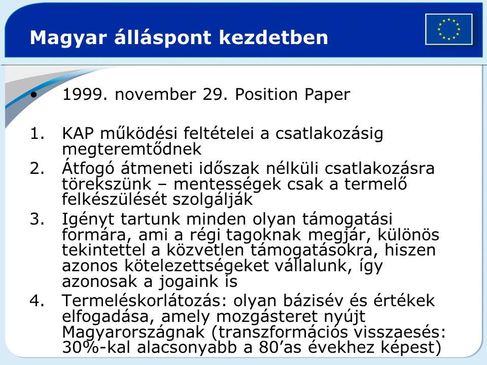 EU hivatalos álláspontja Közvetlen támogatásokról csak később hajlandók tárgyalni Kvóták tekintetében az 1995-1999.