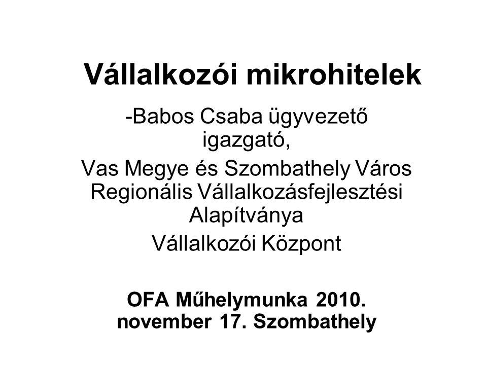 MIKROHITELEZÉS KEZDETE MAGYARORSZÁGON 1991-92 Magyarországi EU PHARE Program keretében: Helyi Vállalkozói Központok, mint mikrofinanszírozó szervezetek