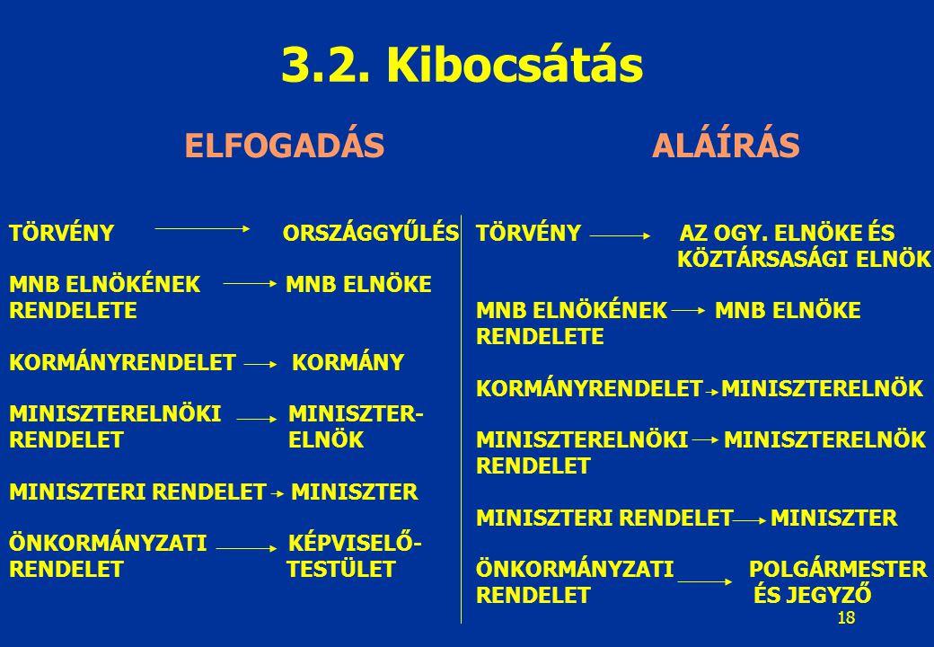 19 A jogszabály tartalmának, szerkezetének első eleme Törvény: 2003.