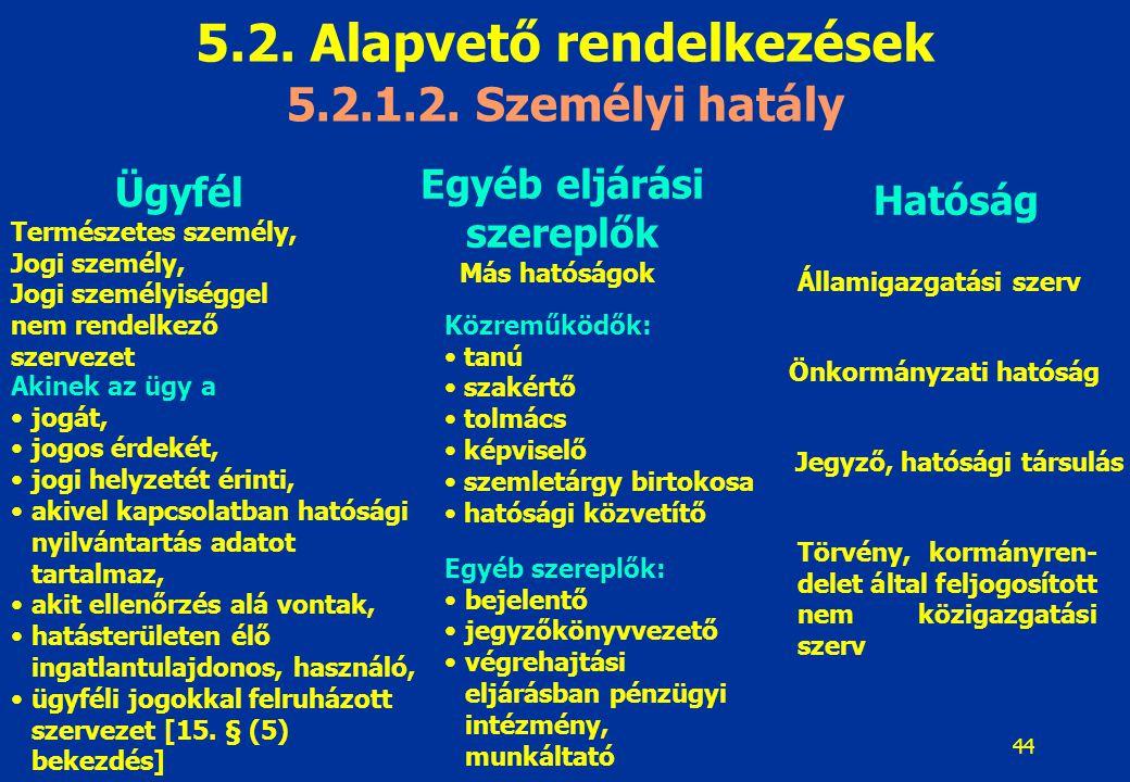 45 5.2.Alapvető rendelkezések 5.2.2.