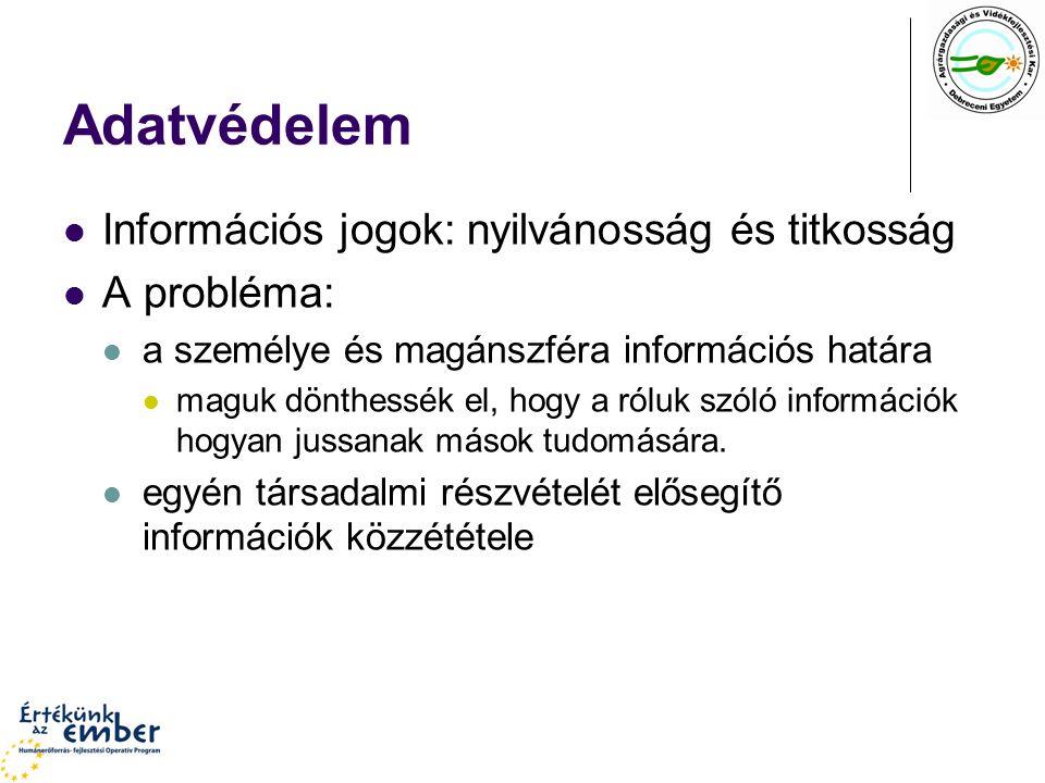 Törvényi kategóriák Személyes adat bármely információ, amely alapján az egyén azonosítható.