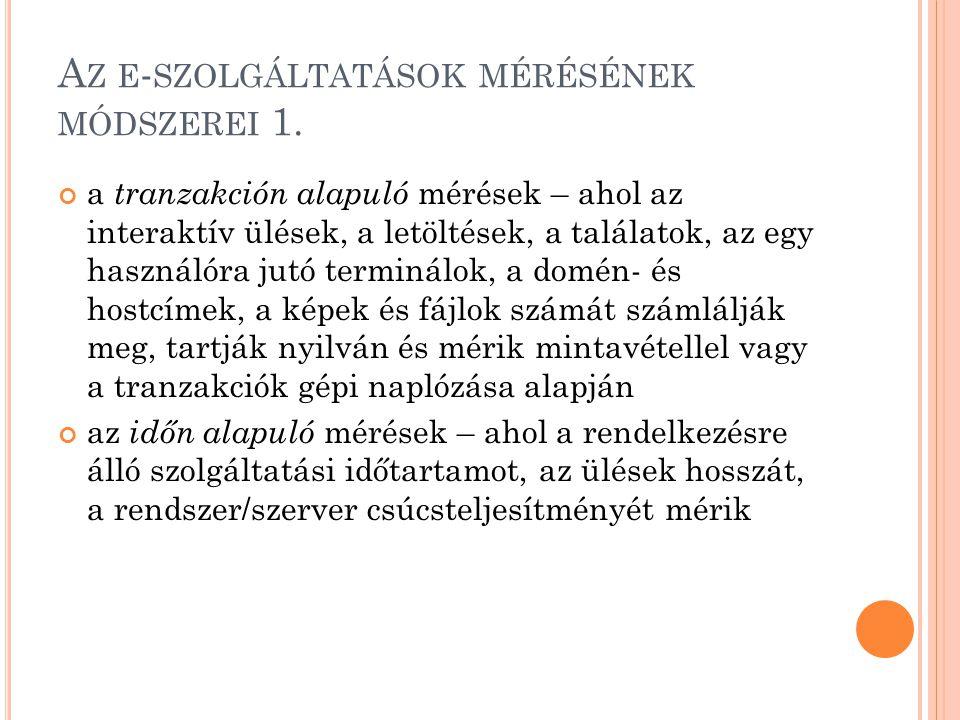 A Z E - SZOLGÁLTATÁSOK MÉRÉSÉNEK MÓDSZEREI 2.
