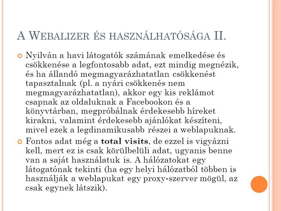 A W EBALIZER ÉS HASZNÁLHATÓSÁGA III.