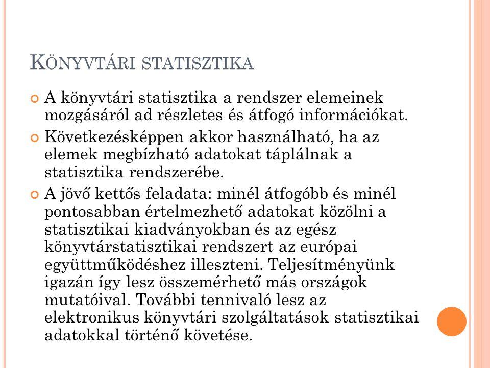 K ÖNYVTÁRI STATISZTIKA Az elemzési technikák lényeges része a statisztikai adatok gyűjtése és elemzése.