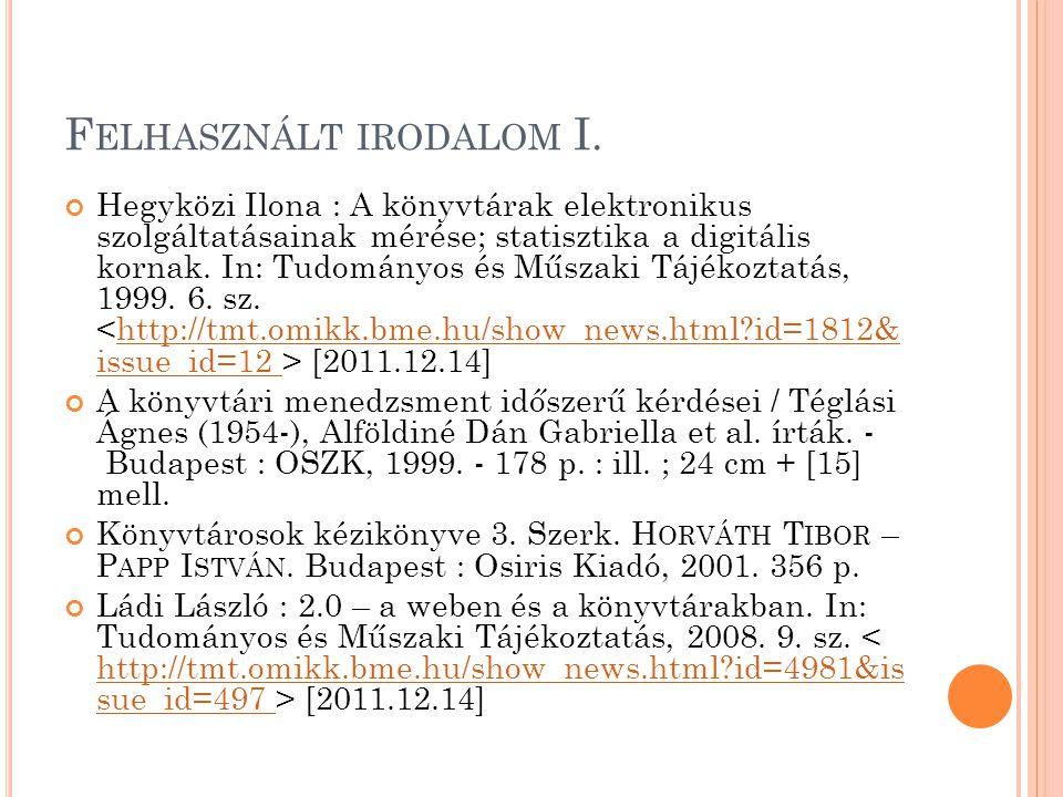 F ELHASZNÁLT IRODALOM II.