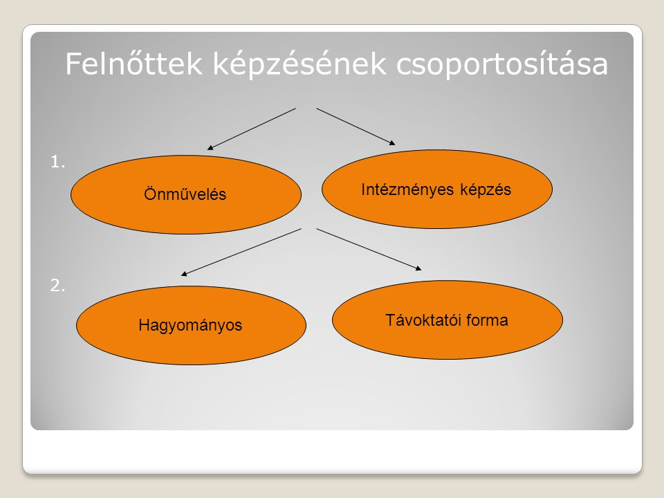 """A magyarországi felnőttoktatás kiemelt feladatai A """"második esély megteremtése és a korrekció A munkanélküli és a munkanélküliség által fenyegetett csoportok át- és továbbképzése Felkészítés a nemzetközi gazdaságban való közreműködésre Individualizált tanulás – nyitott képzés, távoktatás formáinak kidolgozása Demokráciára nevelés Az egész életen át tartó tanulás alapjának fejlesztése A szabadidő hasznos és értelmes eltöltése, az egészségre nevelés, a rekreáció és turizmus"""