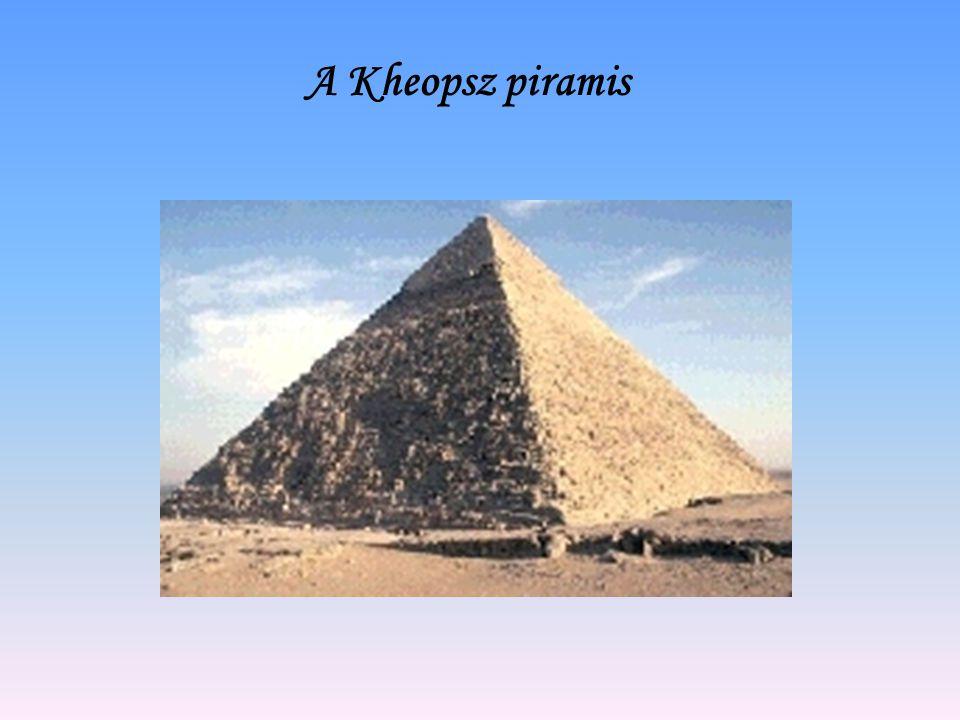A piramis méretei A Kheopsz piramis magassága eredetileg 146,6m magas volt, vagyis akkora, mint egy 50 emeletes felhőkarcoló.