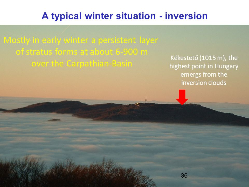 www.met.hu Wintertime stratus cases -Fog is formed during the night, which does not dissolve during the day, it elevates and forms a stratus layer -The cloud top radiates out considerably  CTT can decrease even during day  condensation at cloud top  fog elevates -Wintertime low cloud cases over Hungary are a great challange for operational NWP models