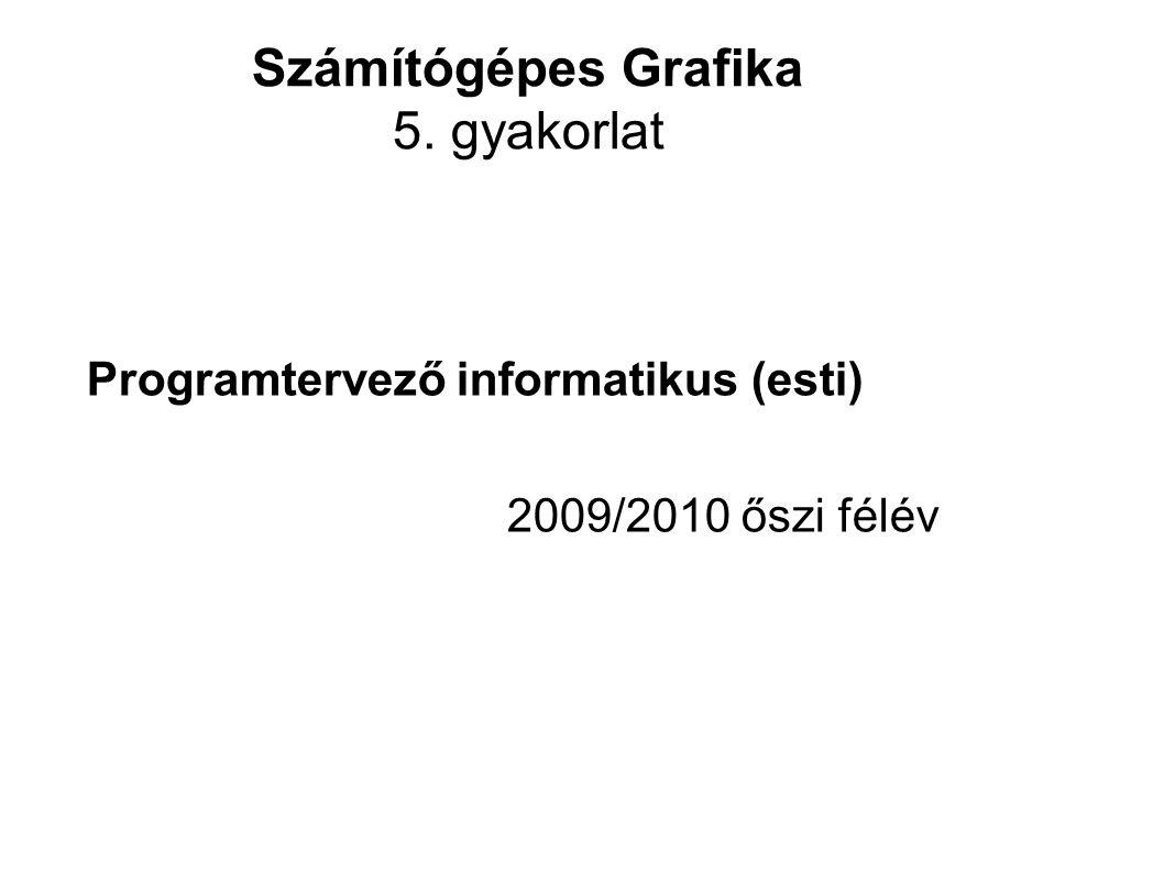 Információk Gyakorlati diák: http://people.inf.elte.hu/valasek/bevgraf_esti/ http://people.inf.elte.hu/valasek/bevgraf_esti/ E-mail: valasek@inf.elte.huvalasek@inf.elte.hu