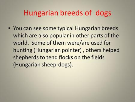 Hungarian breeds of dogs You can see some typical Hungarian breeds which are also popular in other parts of the world. Some of them were/are used for hunting.