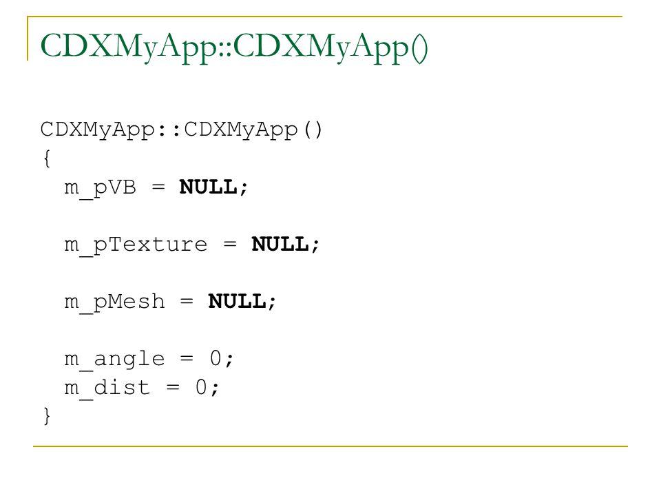 CDXMyApp:: InitDeviceObjects() HRESULT CDXMyApp::InitDeviceObjects() { D3DXCreateSphere(m_pD3DDevice, 1, 32, 32, &m_pMesh, 0); return S_OK; }