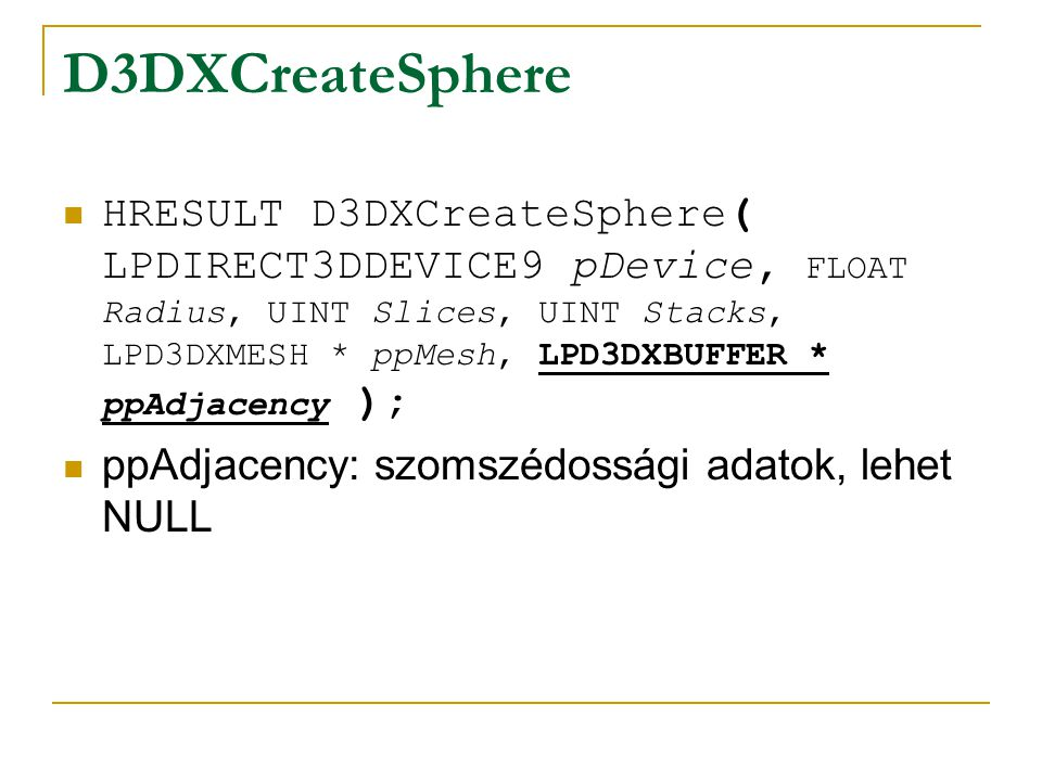 CDXMyApp::Render() D3DXMATRIXA16 matWorld; D3DXMatrixTranslation(&matWorld,0,2,0); D3DXMatrixTranspose(&matWorld, &matWorld); cgD3D9SetUniformMatrix(m_CGparam_world, &matWorld); m_pMesh->DrawSubset(0);