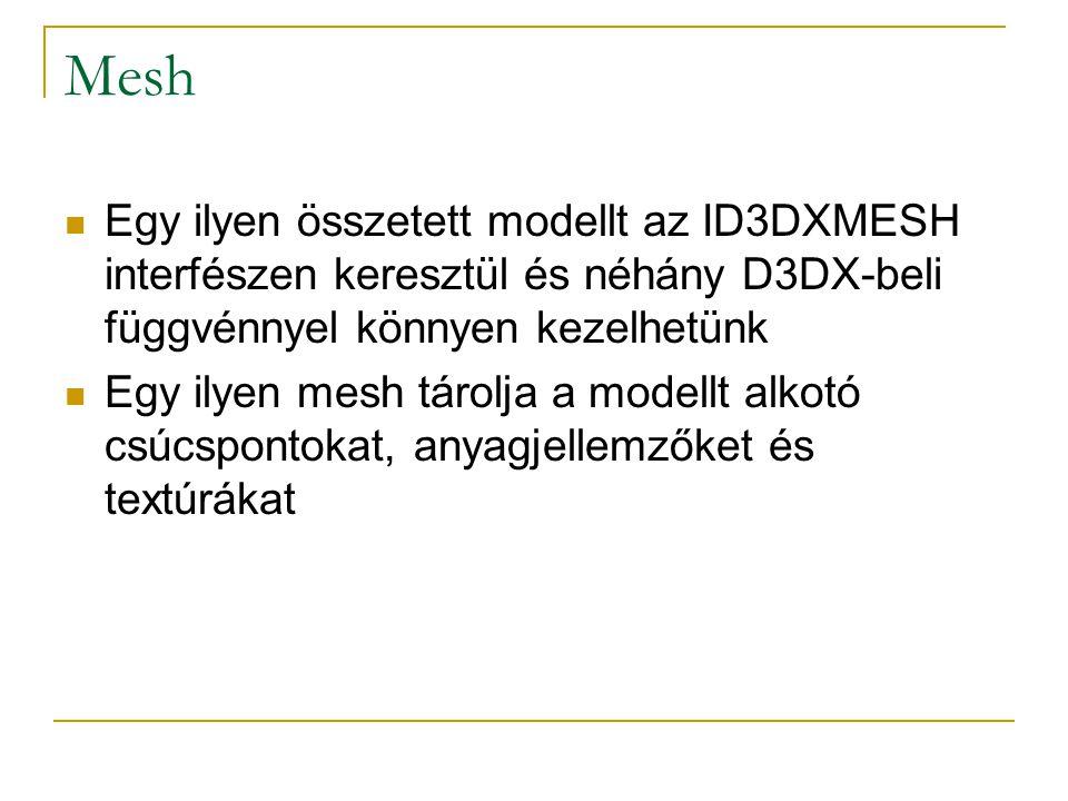 Mesh-ek felépítése Megvalósítástól elvonatkoztatva tekinthetünk rájuk mint erőforrások és attribútumok közös tárolójára Erőforrások:  Textúrák  Anyagjellemzők (material-ok) Attribútumok:  Pozíció adatok  Szomszédsági adatok