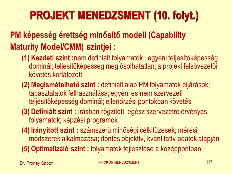 Dr.Prónay Gábor INFOKOM MENEDZSMENT 118 PROJEKT MENEDZSMENT (11.