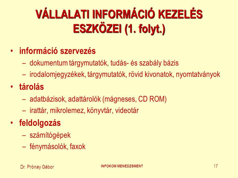 Dr.Prónay Gábor INFOKOM MENEDZSMENT 18 VÁLLALATI INFORMÁCIÓ KEZELÉS ESZKÖZEI (2.