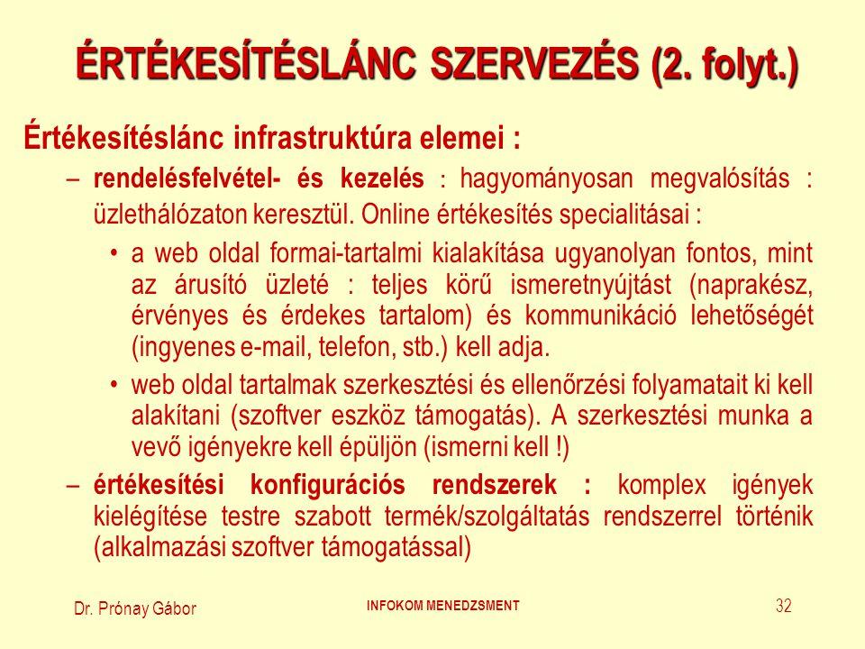 Dr.Prónay Gábor INFOKOM MENEDZSMENT 33 ÉRTÉKESÍTÉSLÁNC SZERVEZÉS (3.