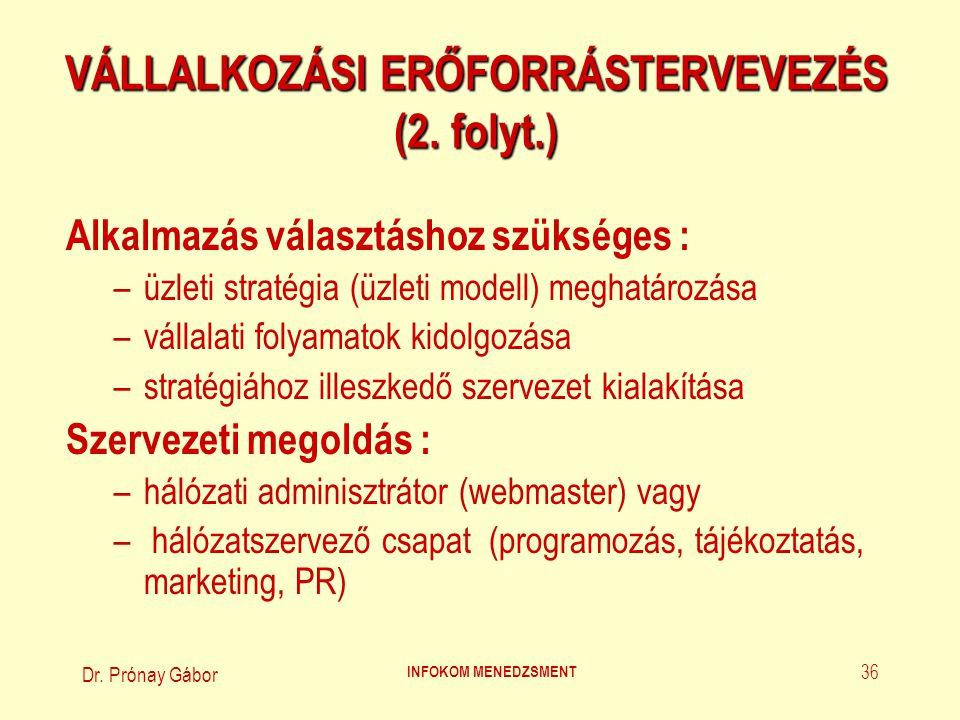 Dr.Prónay Gábor INFOKOM MENEDZSMENT 37 VÁLLALKOZÁSI ERŐFORRÁSTERVEVEZÉS (3.
