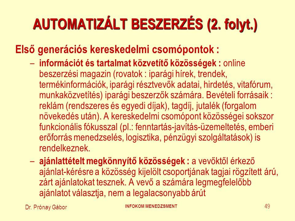 Dr.Prónay Gábor INFOKOM MENEDZSMENT 50 AUTOMATIZÁLT BESZERZÉS (3.