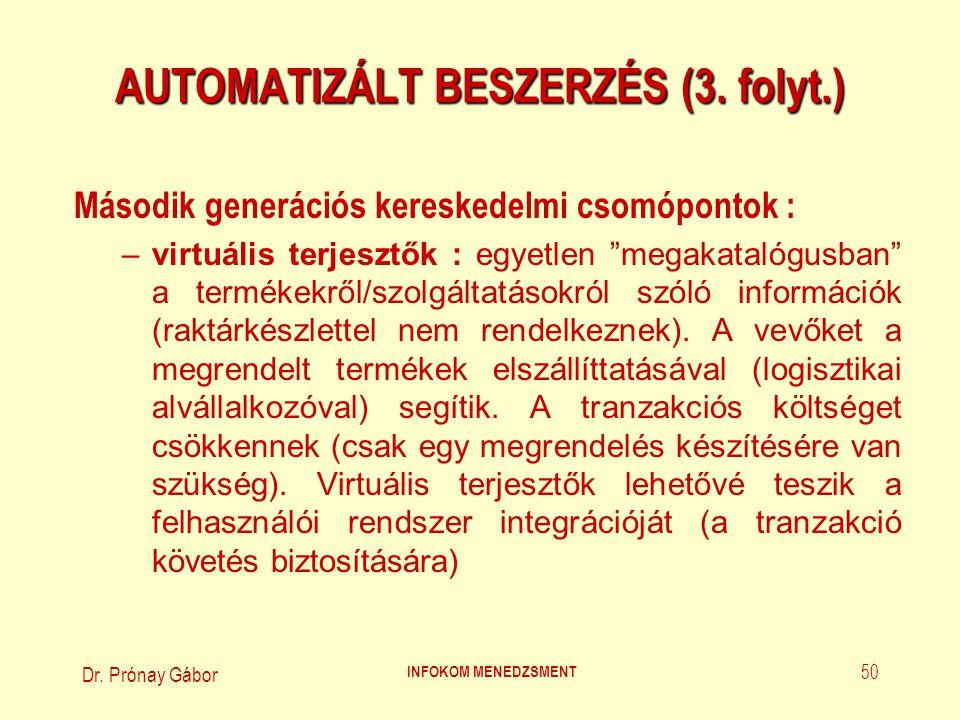Dr.Prónay Gábor INFOKOM MENEDZSMENT 51 AUTOMATIZÁLT BESZERZÉS (4.