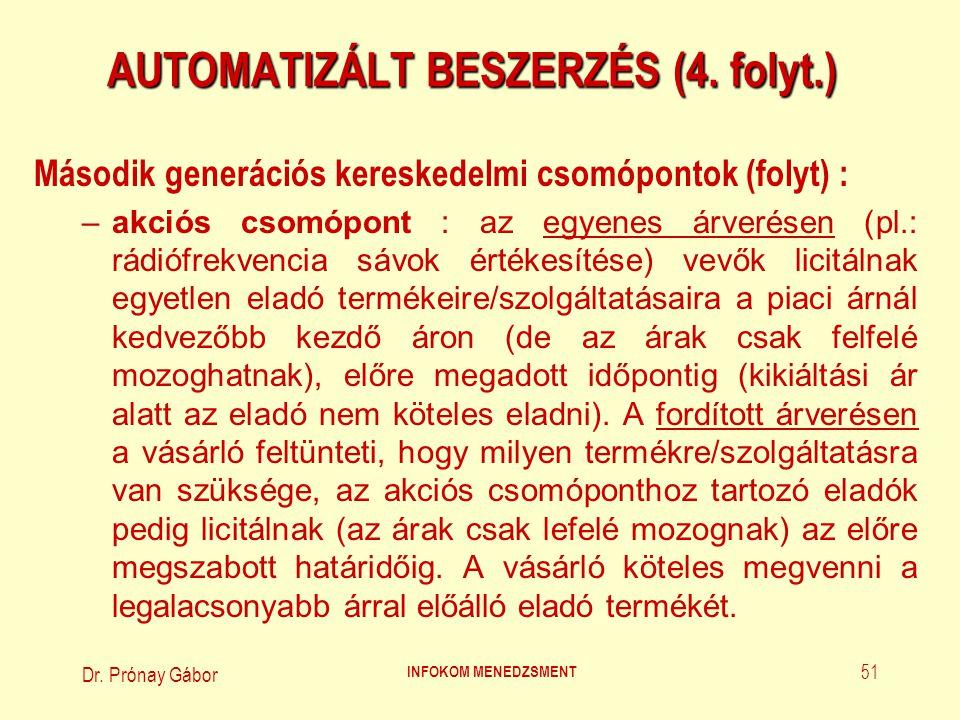 Dr.Prónay Gábor INFOKOM MENEDZSMENT 52 AUTOMATIZÁLT BESZERZÉS (5.