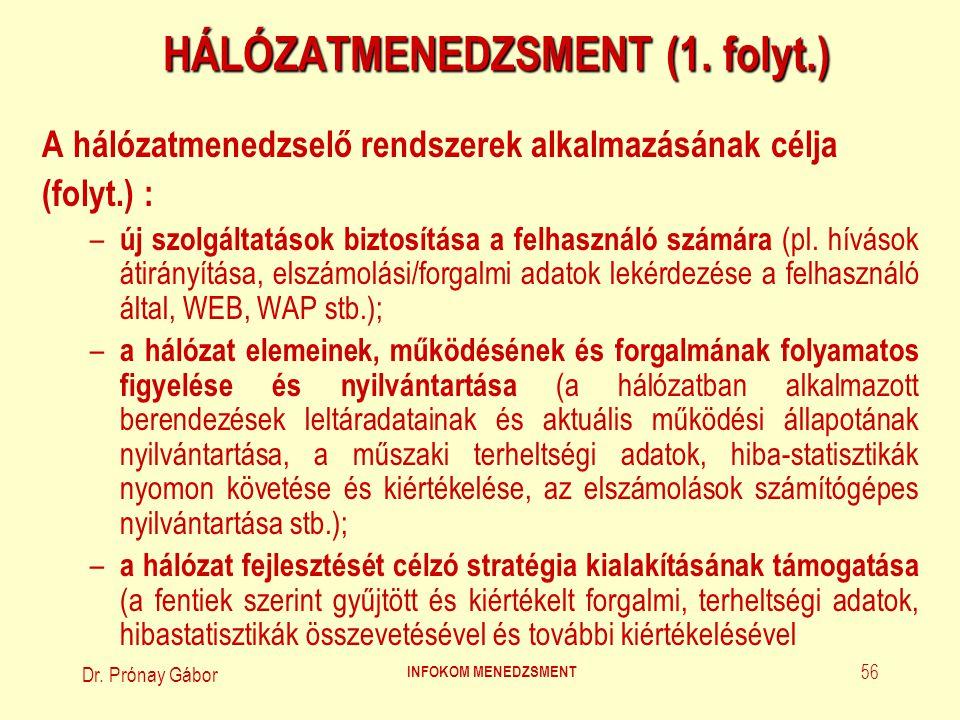 Dr.Prónay Gábor INFOKOM MENEDZSMENT 57 HÁLÓZATMENEDZSMENT (2.