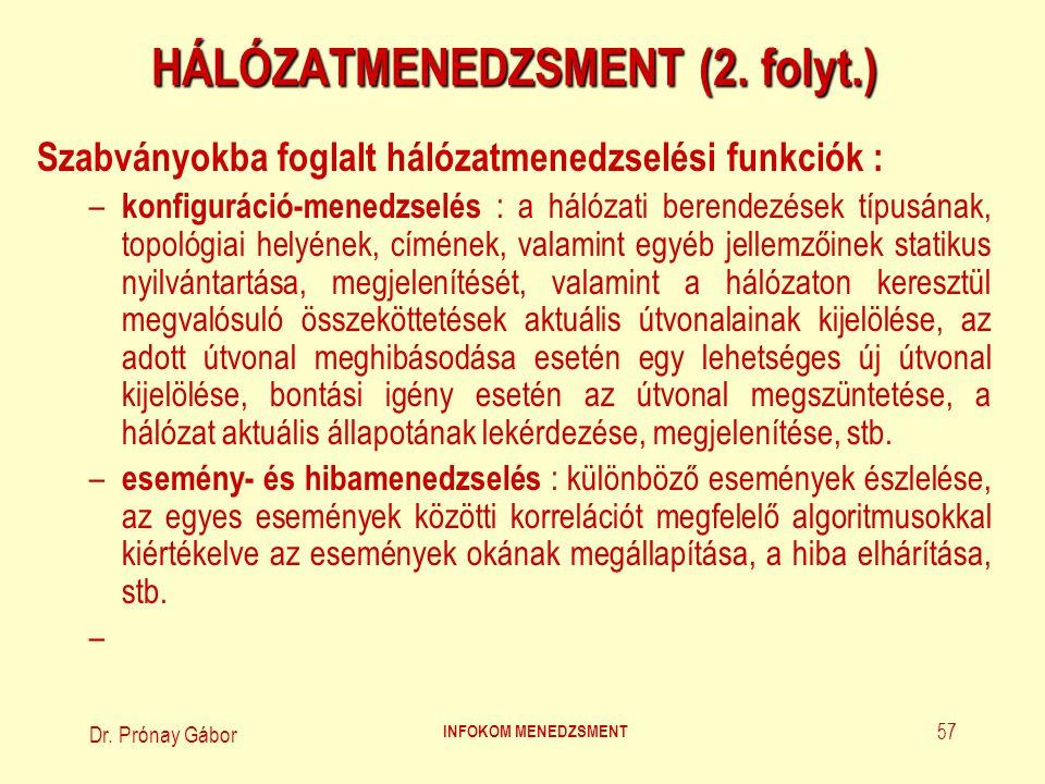 Dr.Prónay Gábor INFOKOM MENEDZSMENT 58 HÁLÓZATMENEDZSMENT (3.