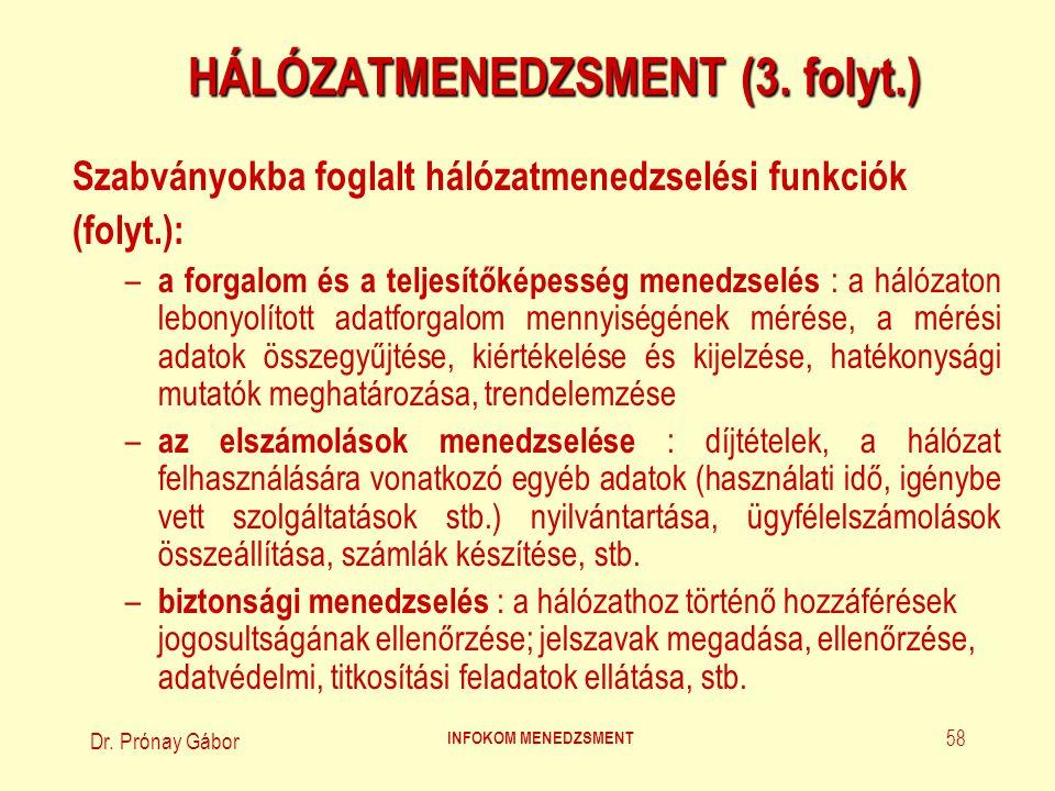 Dr.Prónay Gábor INFOKOM MENEDZSMENT 59 HÁLÓZATMENEDZSMENT (4.