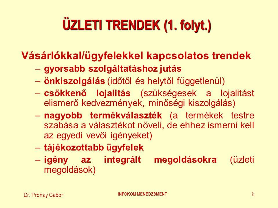 Dr.Prónay Gábor INFOKOM MENEDZSMENT 7 ÜZLETI TRENDEK (2.