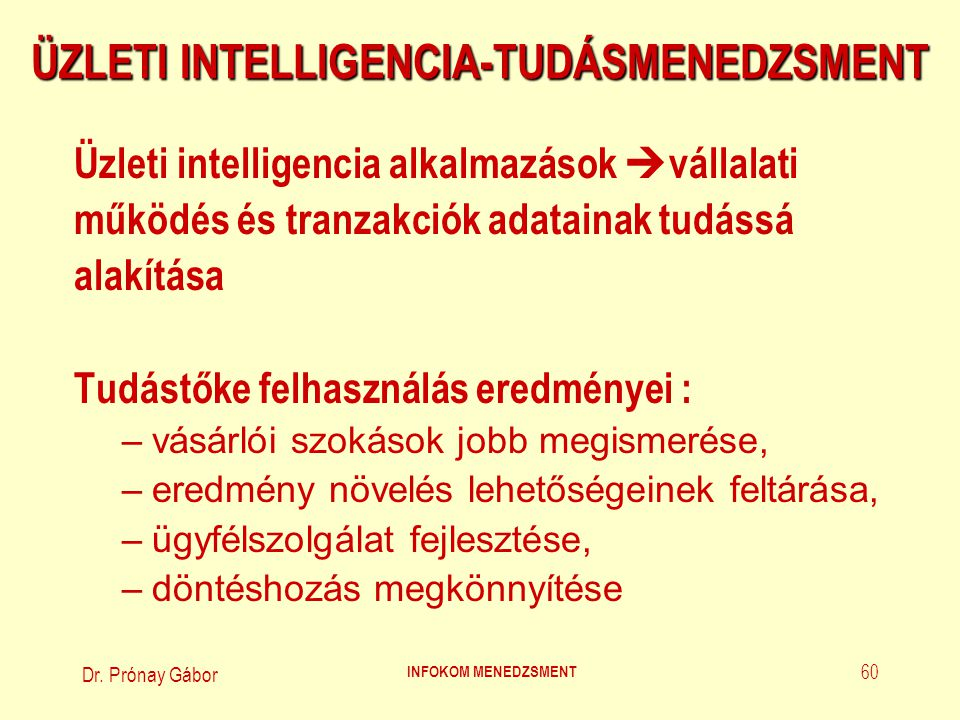 Dr.Prónay Gábor INFOKOM MENEDZSMENT 61 TUDÁSMENEDZSMENT (1.