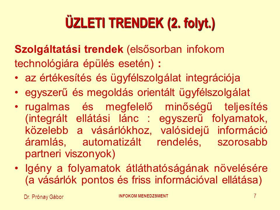 Dr.Prónay Gábor INFOKOM MENEDZSMENT 8 ÜZLETI TRENDEK (3.